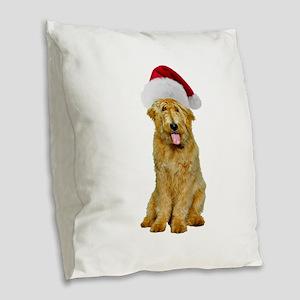 Goldendoodle Santa Burlap Throw Pillow
