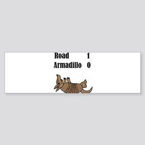 Funny Armadillo Roadkill Cartoon Bumper Sticker