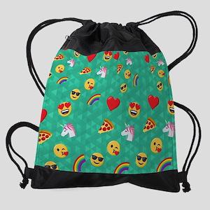Emoji Blue Pattern Drawstring Bag