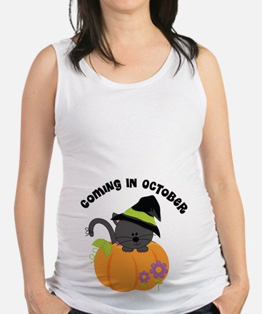 Coming In October Halloween Witch Maternity Tank T