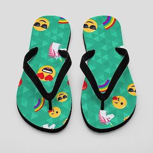 Emoji Blue Pattern Flip Flops