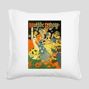 Vintage Mother Goose Square Canvas Pillow