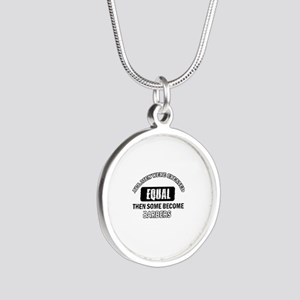 Cool Barbers designs Silver Round Necklace