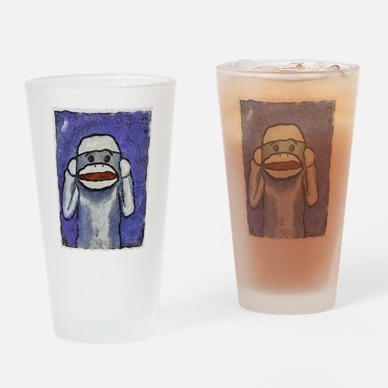 Hear No Evil Sock Monkey Drinking Glass