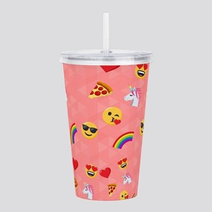 Emoji Pink Pattern Acrylic Double-wall Tumbler
