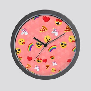 Emoji Pink Pattern Wall Clock