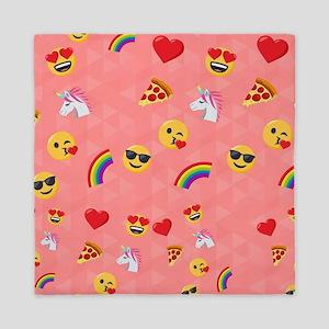 Emoji Pink Pattern Queen Duvet