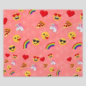 Emoji Pink Pattern King Duvet
