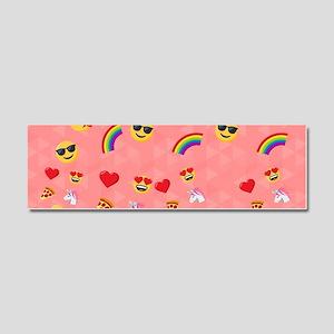 Emoji Pink Pattern Car Magnet 10 x 3