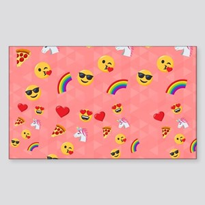 Emoji Pink Pattern Sticker (Rectangle)