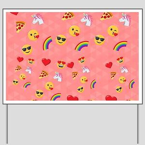 Emoji Pink Pattern Yard Sign