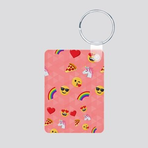 Emoji Pink Pattern Aluminum Photo Keychain