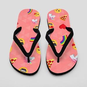 Emoji Pink Pattern Flip Flops