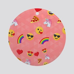 Emoji Pink Pattern Round Ornament