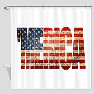 Vintage Grunge MERICA U.S. Flag Shower Curtain