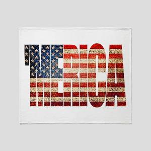 Vintage Grunge MERICA U.S. Flag Throw Blanket