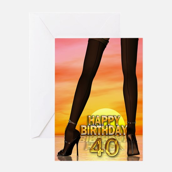 40th Birthday with sexy legs Greeting Cards