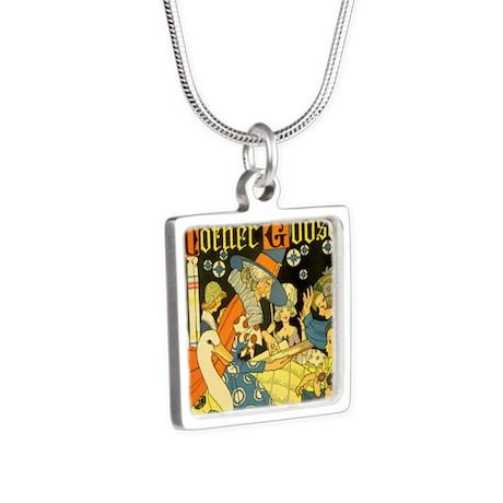 Vintage Mother Goose Silver Square Necklace
