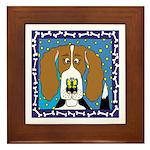 Framed Beagle Ceramic Tile Original Art