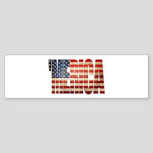 Vintage Grunge MERICA U.S. Flag Bumper Sticker