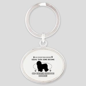 old english sheepdog mommy designs Oval Keychain