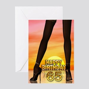 65th Birthday with sexy legs Greeting Cards