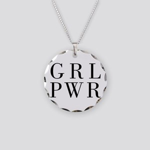 grl pwr Necklace Circle Charm