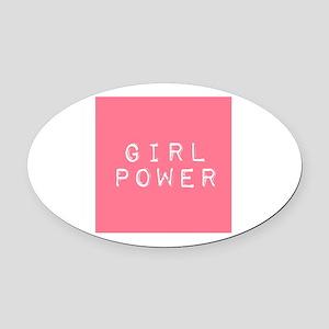 Girl Power Oval Car Magnet
