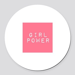 Girl Power Round Car Magnet