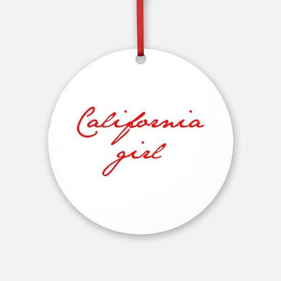 california-girl-jan-red Ornament (Round)
