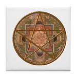 Wicca Mandala Pentagram Tile Coaster