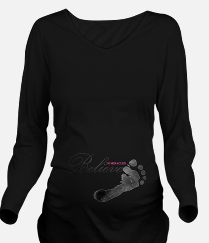 Believe in Miracles Long Sleeve Maternity T-Shirt