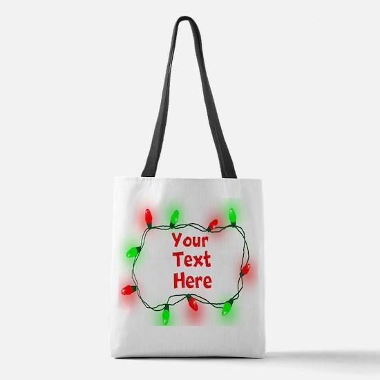 Custom Christmas Lights Polyester Tote Bag