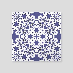 "Blue Iris & White Lace Tile Square Sticker 3"" x 3"""