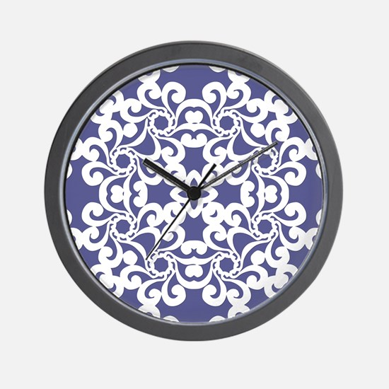 Blue Iris & White Lace Tile Wall Clock