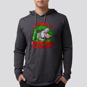 Hippopotamus for Christmas Mens Hooded Shirt