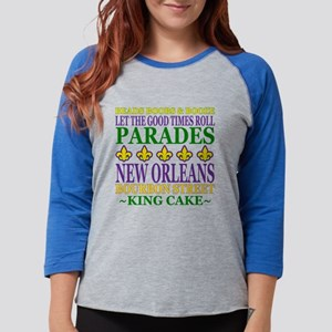 Mardis Gras Fun Womens Baseball Tee