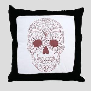 Pink Sugar Skull Throw Pillow