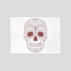 Pink Sugar Skull 5'x7'Area Rug