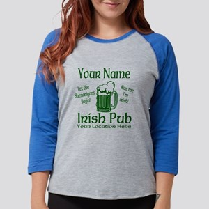 Custom Irish pub Womens Baseball Tee