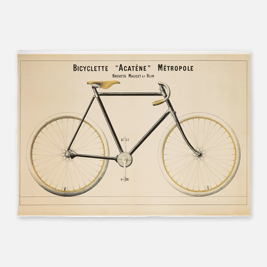 Bicycle, Vintage Poster 5'x7'Area Rug