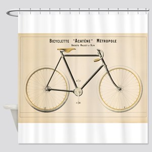 Bicycle Vintage Poster Shower Curtain