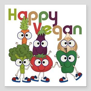 """Happy Vegan Square Car Magnet 3"""" x 3"""""""