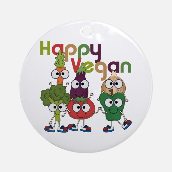 Happy Vegan Ornament (Round)