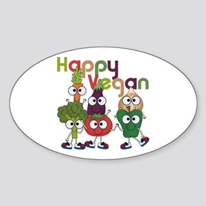 Happy Vegan Sticker (Oval)