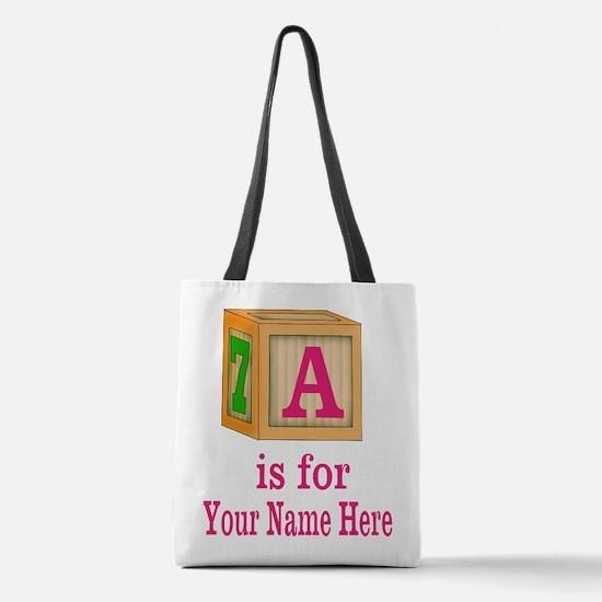 Custom Pink Block Polyester Tote Bag