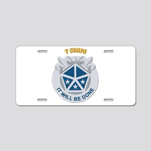 DUI - V Corps With Text Aluminum License Plate