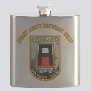 SSI - First Army Division West with Text Flask