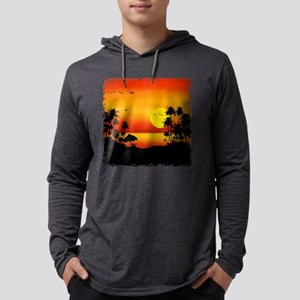 Island Sunset Mens Hooded Shirt