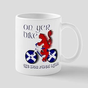 Scottish lion cycling fun Mugs